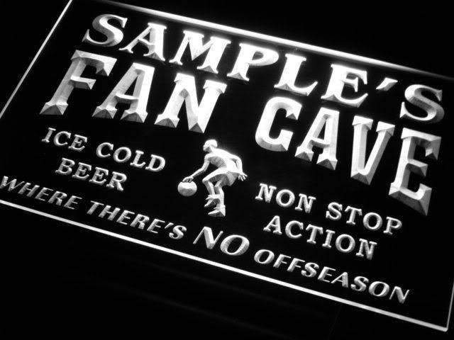 Personalized Basketball Fan Cave LED Neon Light Sign - Way Up Gifts