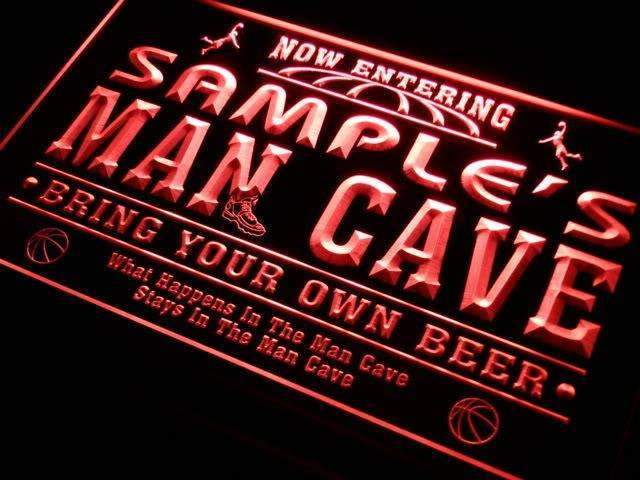 Personalized Basketball Man Cave LED Neon Light Sign - Way Up Gifts
