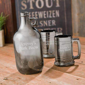 Personalized Beer Growler Steins Set - Gunmetal