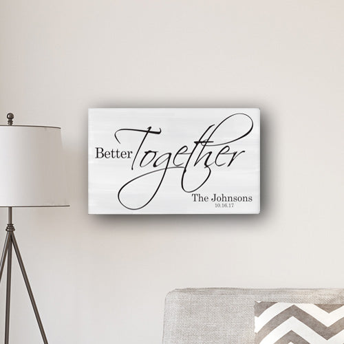 "Personalized Better Together Modern Farmhouse 14"" x 24"" Canvas Sign - Way Up Gifts"