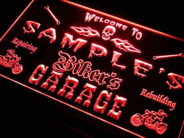 Personalized Bikers Garage LED Neon Light Sign - Way Up Gifts