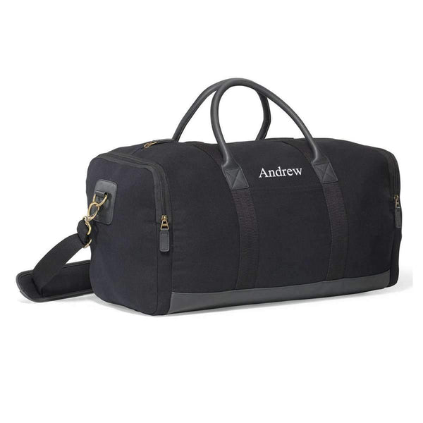 Personalized Heavy Black Canvas Duffel Bag - Way Up Gifts