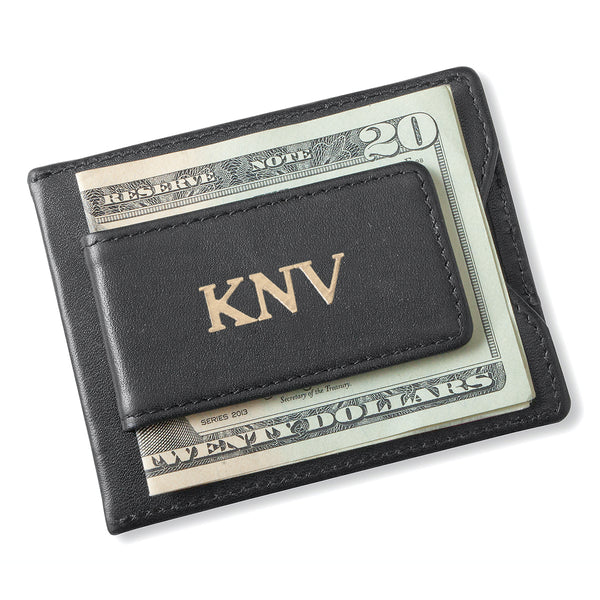 Personalized Men's Black Leather Money Clip Wallet - Way Up Gifts