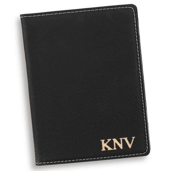 Personalized Black Passport Cover Gold (22k) Personalized Gifts - Way Up Gifts