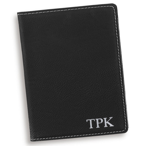 Personalized Black Passport Cover Silver Personalized Gifts - Way Up Gifts