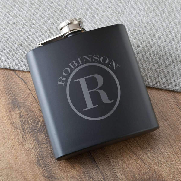 Engraved Matte Black Hip Flask Circle Personalized Gifts - Way Up Gifts