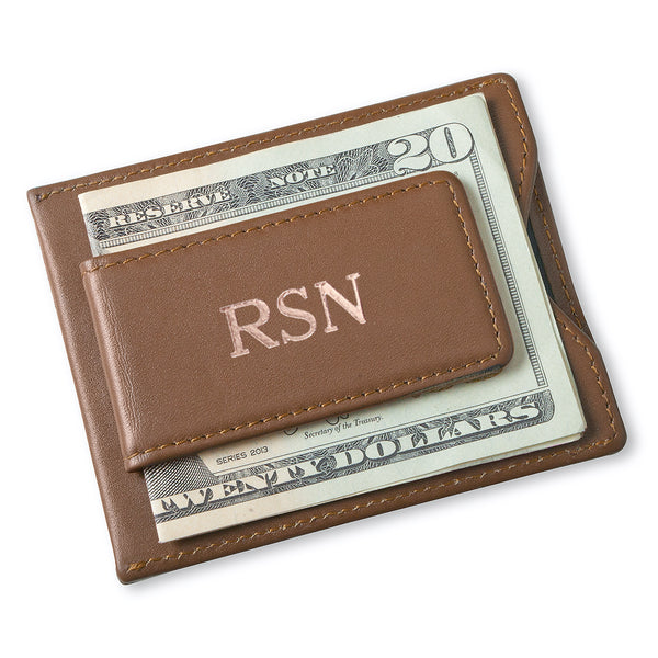 Personalized Men's Brown Leather Money Clip Wallet - Way Up Gifts