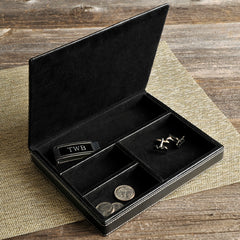 Engraved Men's Small Leather Jewelry Box