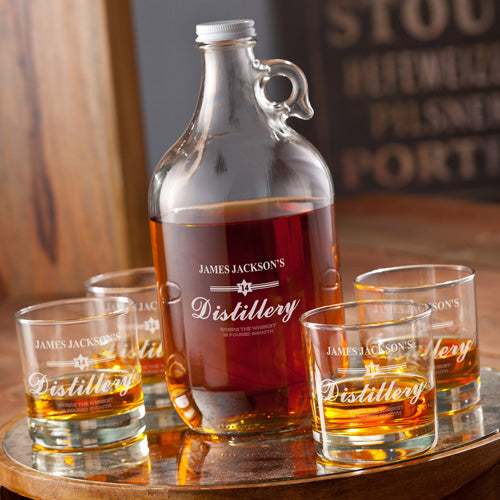 Personalized Distillery Whiskey Growler Set - Way Up Gifts