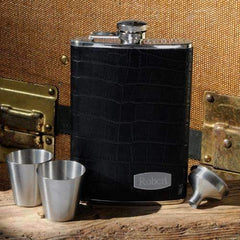 Engraved Elite Black Leather Hip Flask Set