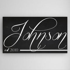 Personalized Family Name Chalkboard Canvas Sign