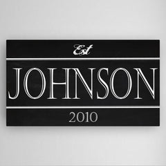Personalized Family Modern Block Chalkboard Canvas Sign