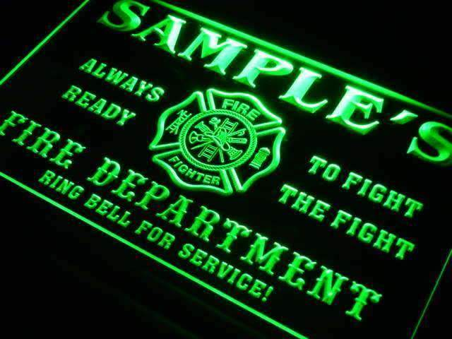 Personalized Fire Department LED Neon Light Sign - Way Up Gifts