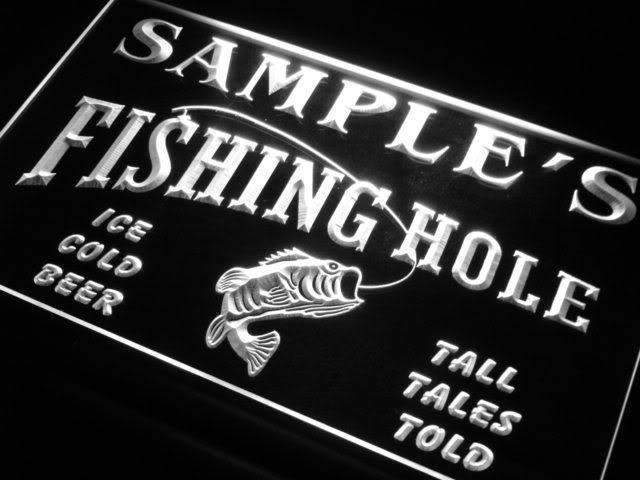 Personalized Fishing Hole LED Neon Light Sign - Way Up Gifts