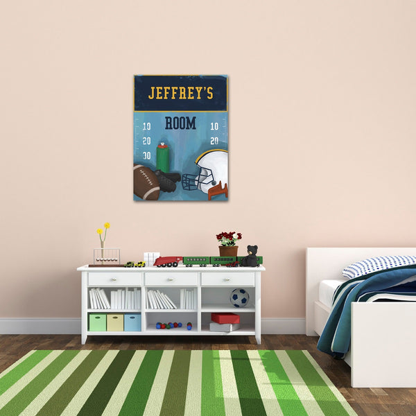 Personalized Kids Football Canvas Print Bedroom Sign - Way Up Gifts