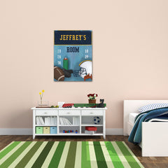 Personalized Kids Football Canvas Print Bedroom Sign