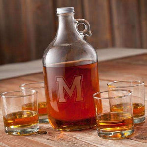 Personalized Glass Whiskey Growler Set