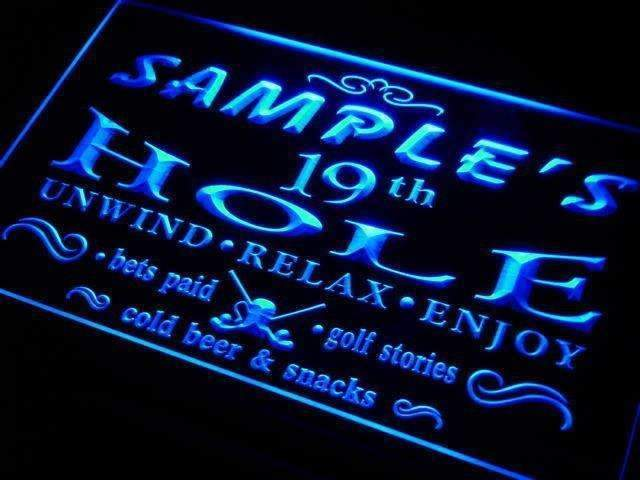 Personalized Golf 19th Hole Bar Neon Sign (LED)-Way Up Gifts