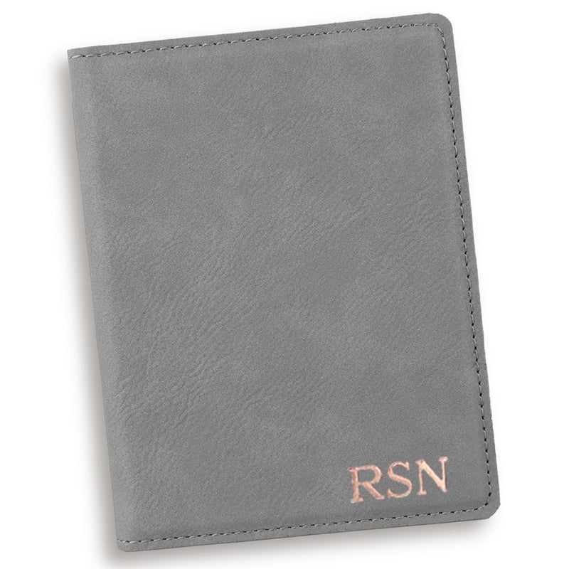 Personalized Gray Passport Cover - Way Up Gifts