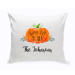 Personalized Happy Fall Halloween Throw Pillow