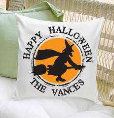 Personalized Witch Happy Halloween Throw Pillow