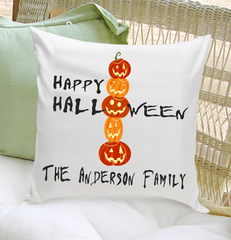 Personalized Pumpkins Happy Halloween Throw Pillow