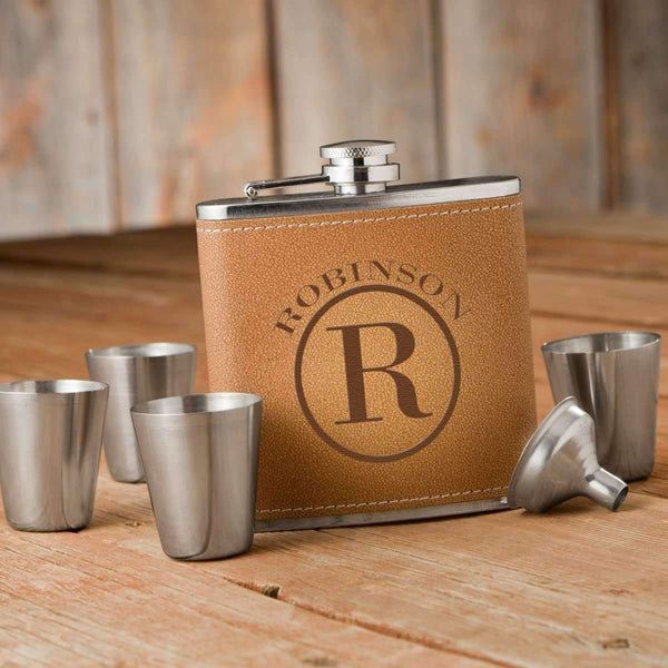 Engraved Hide Stitch Hip Flask & Shot Glasses Gift Box - Way Up Gifts