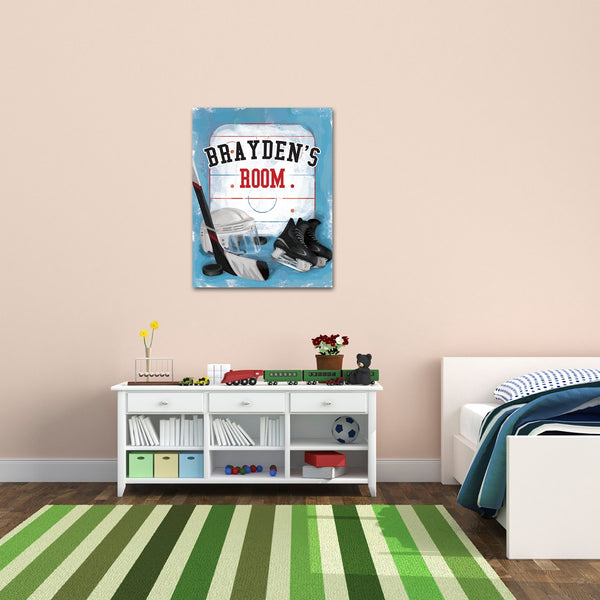 Personalized Kids Hockey Canvas Print Bedroom Sign
