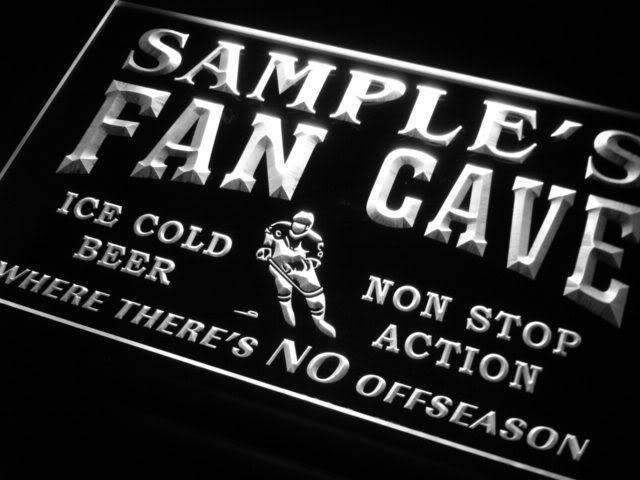 Personalized Hockey Fan Cave LED Neon Light Sign - Way Up Gifts