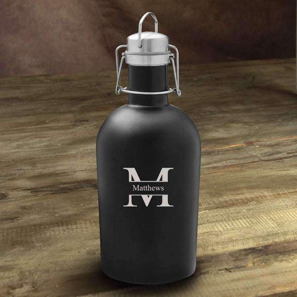 Personalized Matte Black Insulated Growler Stamped Personalized Gifts - Way Up Gifts