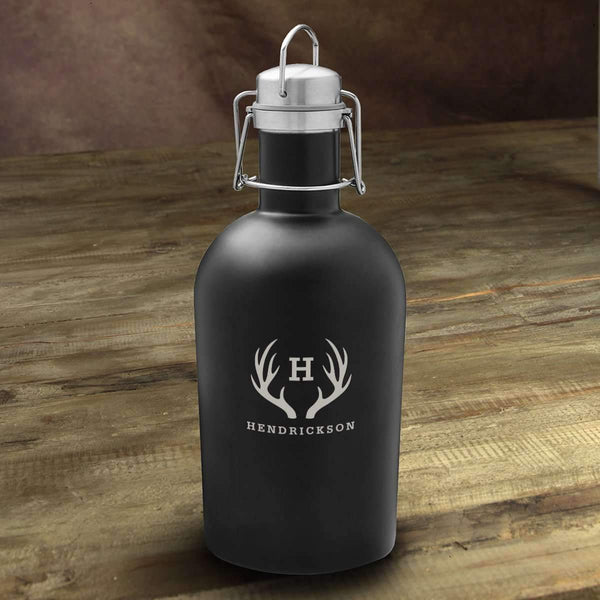 Personalized Matte Black Insulated Growler Antler Personalized Gifts - Way Up Gifts