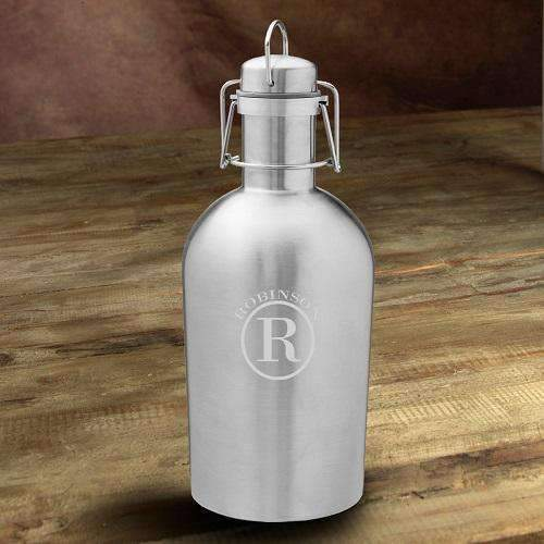 Personalized Stainless Steel Silver Insulated Beer Growler - Way Up Gifts