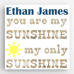 Personalized Kids Canvas Sign-Sunshine Blue