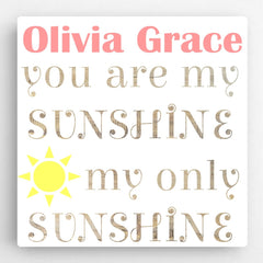 Personalized Kids Canvas Sign-Sunshine Pink