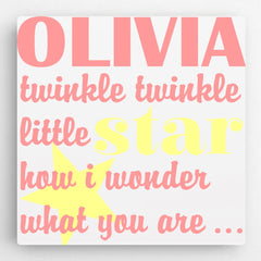Personalized Kids Canvas Sign-Twinkle Pink