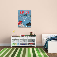 Personalized Kids Lacrosse Canvas Print Bedroom Sign