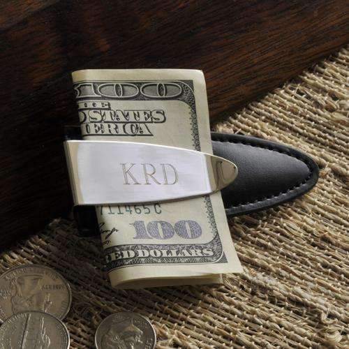 Engraved Arrowhead Money Clip Black/Silver Personalized Gifts - Way Up Gifts