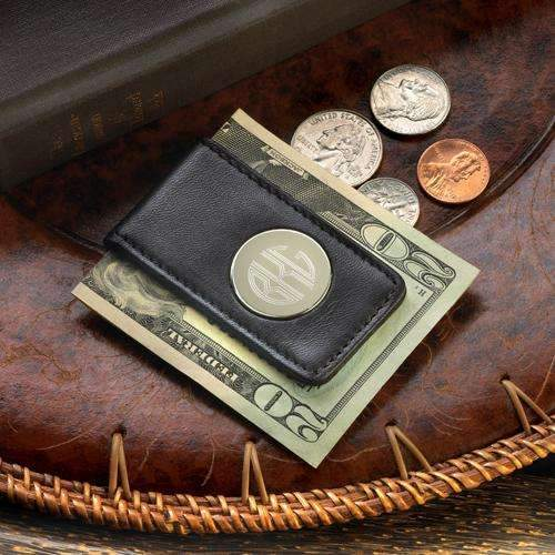Engraved Black Leather Money Clip