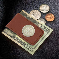Engraved Brown Leather Money Clip
