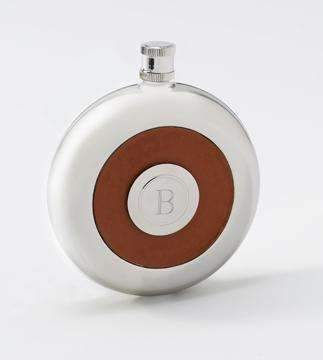 Personalized Round Leather Flask with Attached Shot Glass - Way Up Gifts