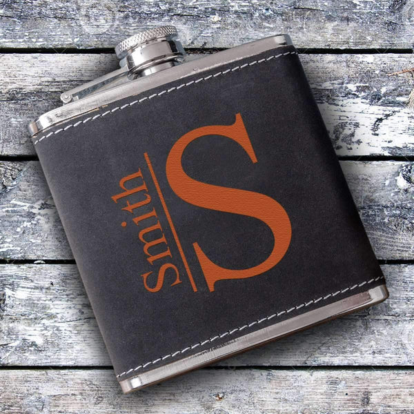 Personalized Suede Leather Flask Modern Personalized Gifts - Way Up Gifts