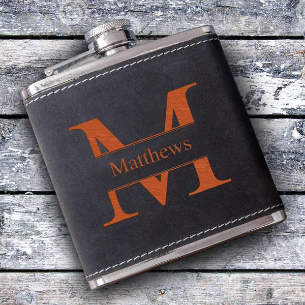 Personalized Suede Leather Flask Stamped Personalized Gifts - Way Up Gifts