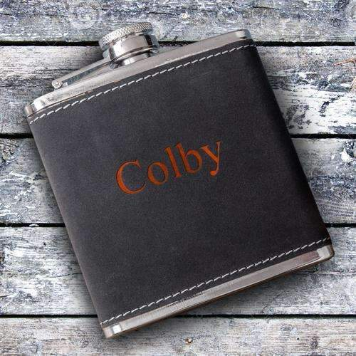 Personalized Suede Leather Flask 2 Lines/12 ch Personalized Gifts - Way Up Gifts