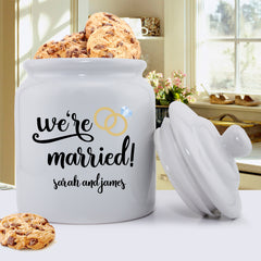 Personalized Couples Cookie Jar | We're Married
