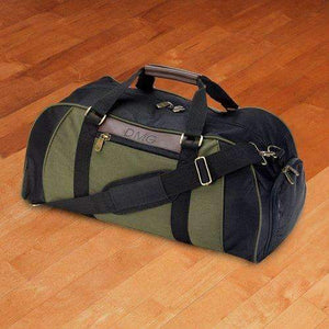 Personalized Men's Black and Green Travel Bag Duffel