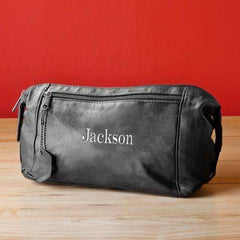 Personalized Men's Black Leather Toiletry Bag