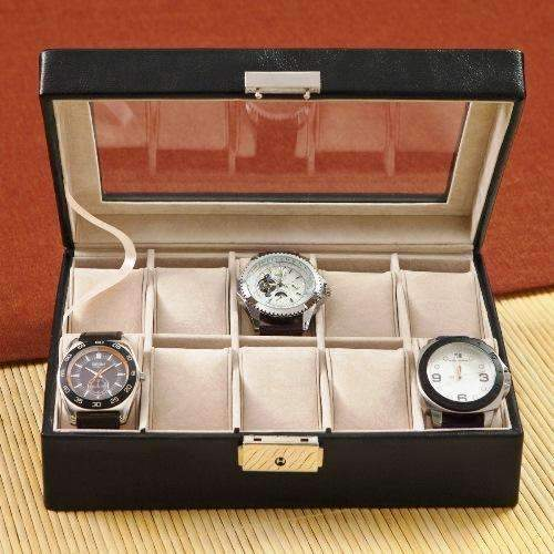 Personalized Men's Black Leather Jewelry Box  Personalized Gifts - Way Up Gifts