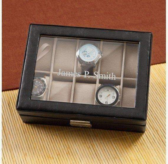 Personalized Men's Black Leather Jewelry Box - Way Up Gifts