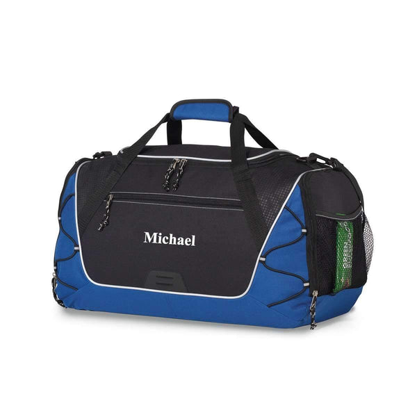 Personalized Men's Black & Blue Sport Gym Bag - Way Up Gifts