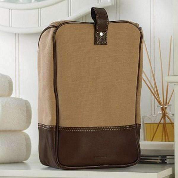 Personalized Men's Canvas & Leather Travel Toiletry Bag - Way Up Gifts